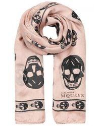 Alexander McQueen - Multicolor Rose Skull-print Silk Chiffon Scarf - Lyst