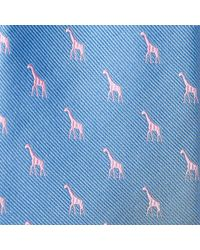 Harvie and Hudson | Blue Sky And Pink Giraffe 100% Silk Woven Tie for Men | Lyst