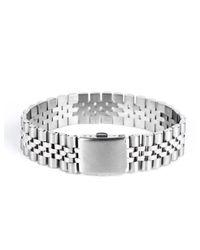 Mister - Metallic Silver Chrome Band Bracelet - Lyst