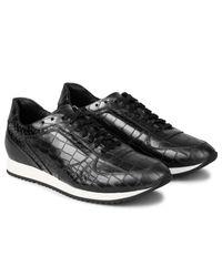 Facto - Black Plutus Gunmetal Croco Runner Low Top Sneakers for Men - Lyst