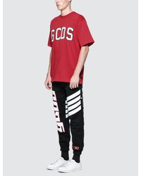 Gcds | Red Logo Flock T-shirt for Men | Lyst