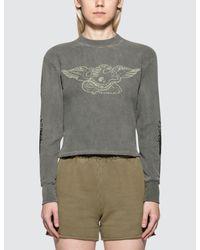 Yeezy - Gray Printed Thermal Sweatshirt - Lyst