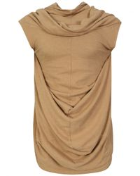 DRKSHDW by Rick Owens | Natural Draping Knitted Tunic Vest Camel | Lyst