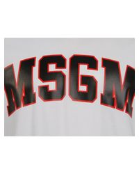 MSGM - Varsity Logo T-shirt White for Men - Lyst
