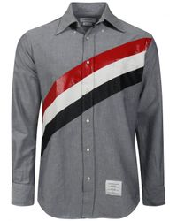 Thom Browne | Blue Diagonal Stripe Oxford Shirt Navy for Men | Lyst