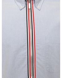 Thom Browne Pull Over Oxford Zip Up Shirt Light Blue for men