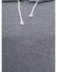 Comme des Garçons Blue Block Back Logo Pinstripe Pullover Hoodie for men