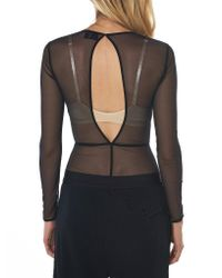 Ann Demeulemeester - Black Skinny Tulle Bodysuit - Lyst