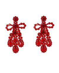 Simone Rocha - Red Crystal-beaded Earrings - Lyst