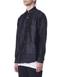Christian Dada - Blue Distressed Hem Button-up Shirt for Men - Lyst