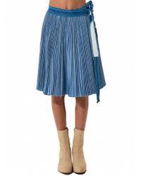 Sacai | Blue Denim Pleated Skirt | Lyst