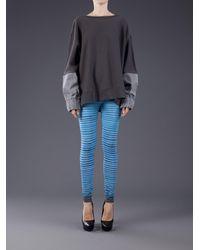 Facetasm - Blue Striped Elasticized Leggings - Lyst