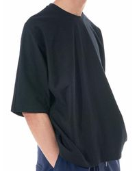 Homme Plissé Issey Miyake - Blue Relaxed Round Neck Tee for Men - Lyst