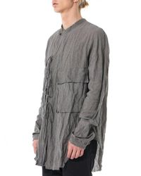Ziggy Chen - Gray Laced Crepe-knit Shirt - Lyst