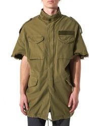 R13 | Green Raw Edge Military Coat | Lyst