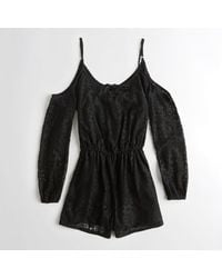ca20a9e9b34b Lyst - Hollister Girls Cold Shoulder Lace Romper From Hollister in Black