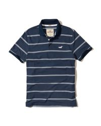 Hollister - Blue Stripe Pique Polo for Men - Lyst
