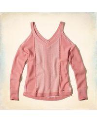 Hollister - Pink V-neck Cold Shoulder Sweater - Lyst