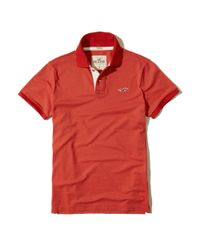 Hollister - Red Stretch Pique Icon Polo for Men - Lyst