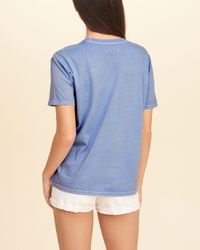 Hollister - Blue Crew Graphic Tee - Lyst