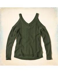 Hollister - Green V-neck Cold Shoulder Sweater - Lyst