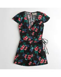 Hollister - Black Girls Wrap-front Romper From Hollister - Lyst