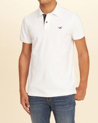 Hollister - White Stretch Pique Icon Polo for Men - Lyst