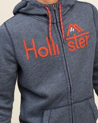 Hollister - Blue Logo Graphic Hoodie for Men - Lyst
