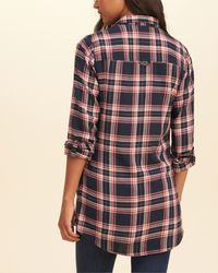 Hollister | Blue Plaid Tunic Shirt | Lyst