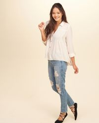 Hollister | Multicolor Pintuck Button Front Shirt | Lyst
