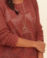 Hollister - Orange Open-stitch Pullover Sweater - Lyst