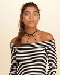 Hollister | Black Tie-front Studded Choker | Lyst