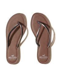 Hollister - Brown Mixed Strap Flip Flop - Lyst