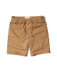 Hollister - Natural Classic Fit Pull-on Twill Shorts for Men - Lyst