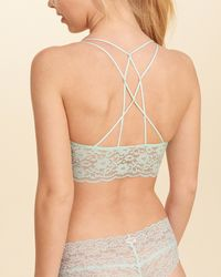 Hollister - Green Strappy Lace Longline Bralette With Removable Pads - Lyst