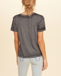 Hollister - Gray Distressed Graphic Tee - Lyst