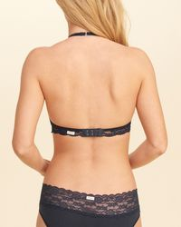 Hollister | Blue Keyhole High-neck Bralette With Removable Pads | Lyst