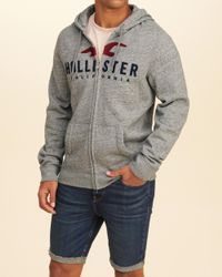 Hollister - Gray Logo Graphic Hoodie for Men - Lyst