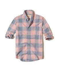 Hollister | Pink Patterned Stretch Poplin Shirt for Men | Lyst