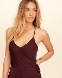 Hollister - Purple Satin Wrap Dress - Lyst