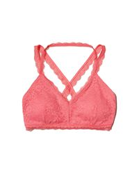 Hollister | Pink Strappy Lace Bralette With Removable Pads | Lyst
