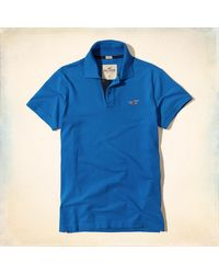 Hollister | Blue Stretch Pique Icon Polo for Men | Lyst