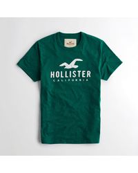 Hollister - Green Logo Graphic Tee for Men - Lyst