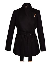 Ted Baker - Black Keyla Short Wrap Cashmere-blend Coat - Lyst