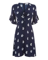 Warehouse | Blue Swan Print Dress | Lyst