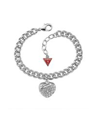 Guess | Metallic Crystal Crush Silver Heart Bracelet | Lyst