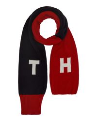 Tommy Hilfiger | Blue Demin Knit Contrast Scarf for Men | Lyst