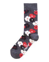 Happy Socks | Gray Kimono Floral Sock | Lyst