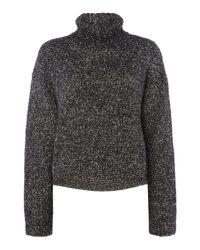 Calvin Klein - Black Long Sleeve Roll Neck Flecked Jumper - Lyst