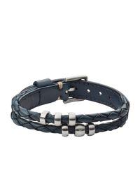 Fossil | Black Jf02346040 Mens Leather Bracelet for Men | Lyst
